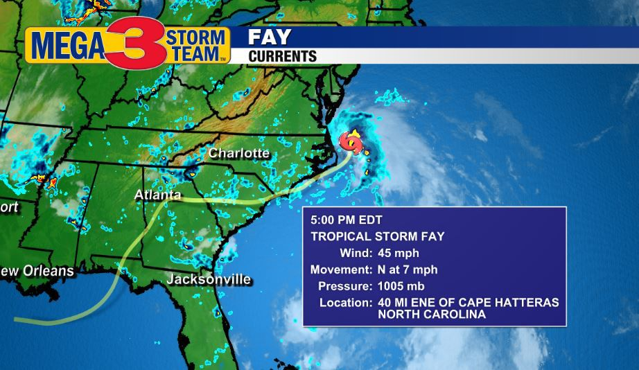 Tropical Storm Fay Currents from the National Hurricane Center