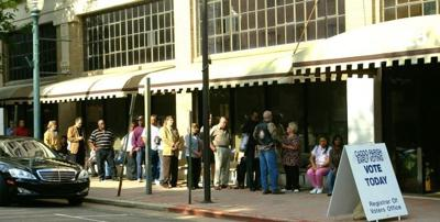 line at Caddo registrar of voters office