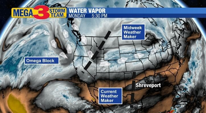 Water Vapor Image of the US Monday Evening
