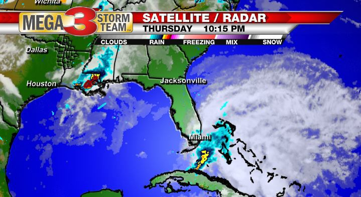 Satellite and Radar Image of a Low Pressure System over the Florida Straits