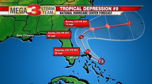 Tropical Depression Nine Forecast from the National Hurricane Center