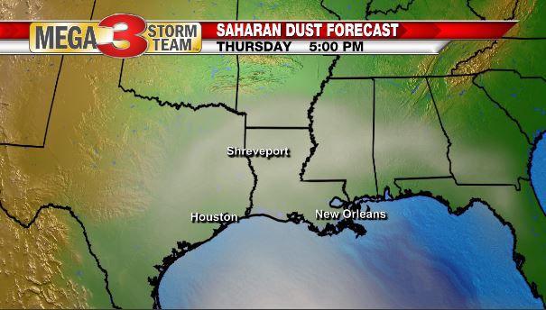 Saharan Dust Forecast for Thursday Afternoon (NOAA)
