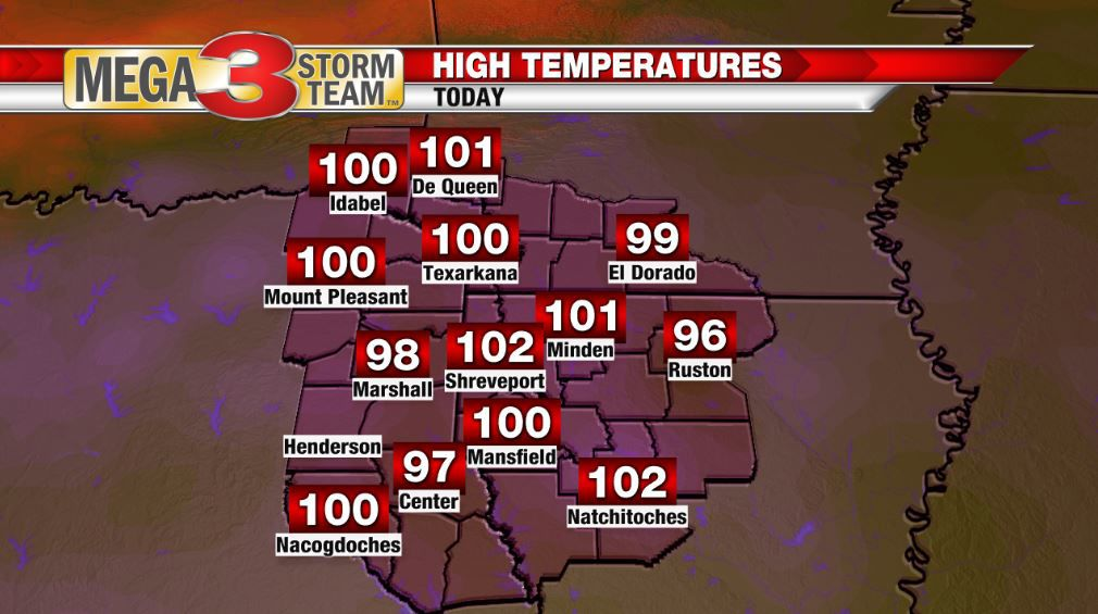 High Temperatures across the ArkLaTex today