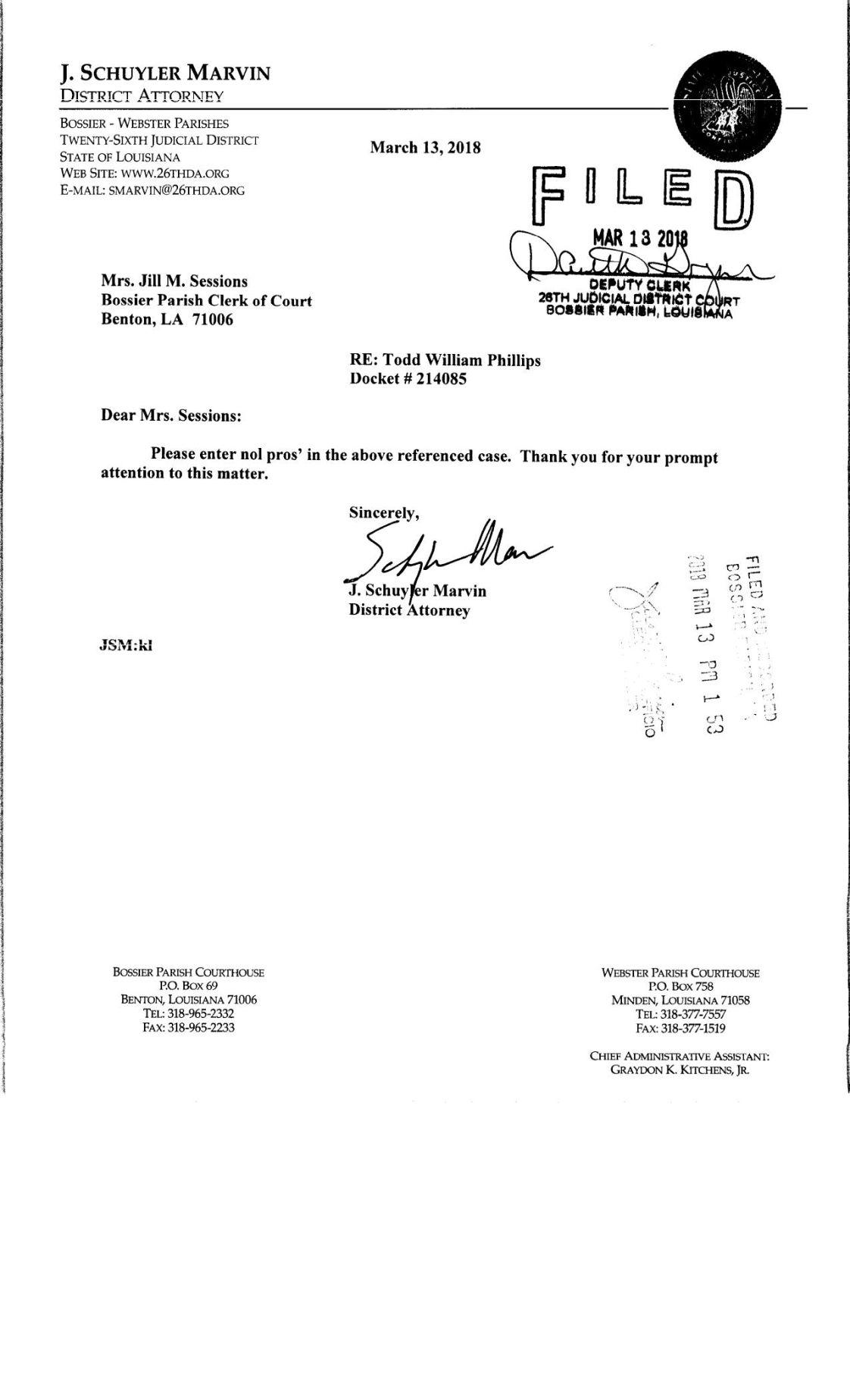 Todd Phillips dismissal letter     ktbs com