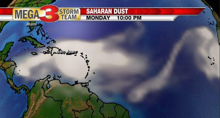 Saharan Dust over the Atlantic Basin Monday evening (NOAA)