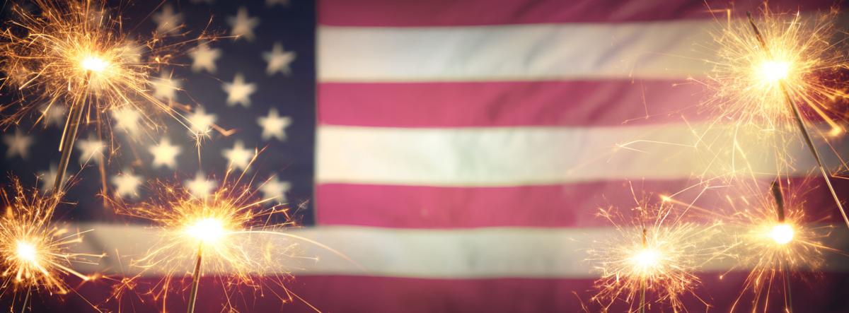 flag and fireworks