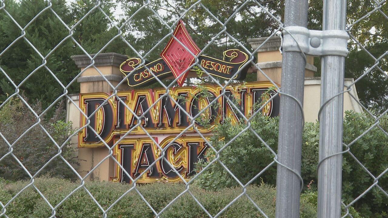 Diamond Jacks behind gate