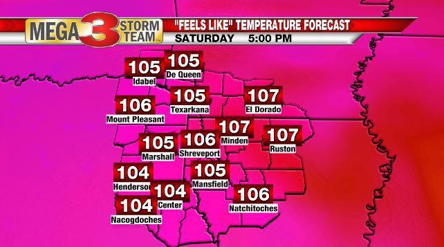 Heat Index Forecast for Saturday