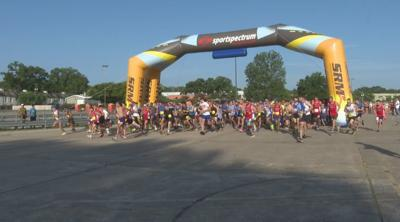 Start of the Firecracker 5K at Mall St. Vincent this morning