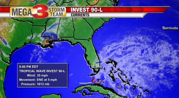 Invest 90-L Currents as of Thursday Evening