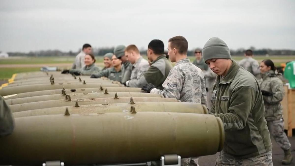 Military members working