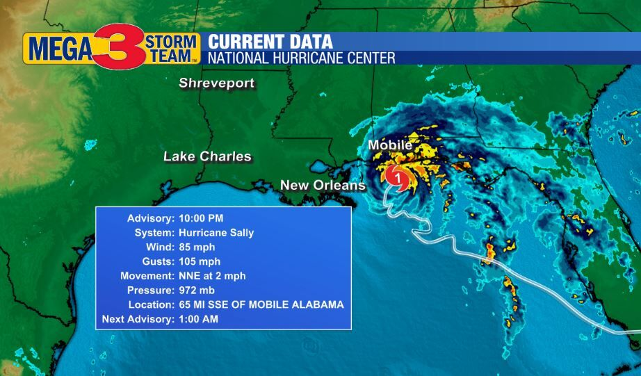 Current Conditions of Hurricane Sally Late Tuesday Evening