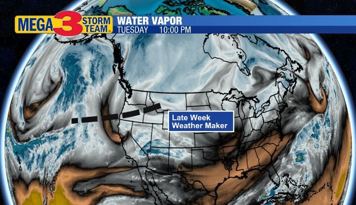 Water Vapor Image of our Late Week Weather Maker