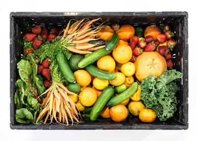 Box of vegetables stock image
