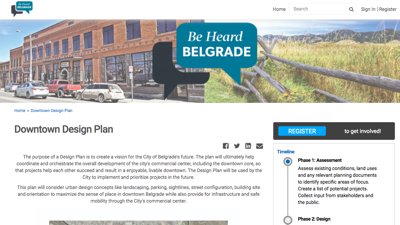 The City of Belgrade looking to lunch new websites for planning projects