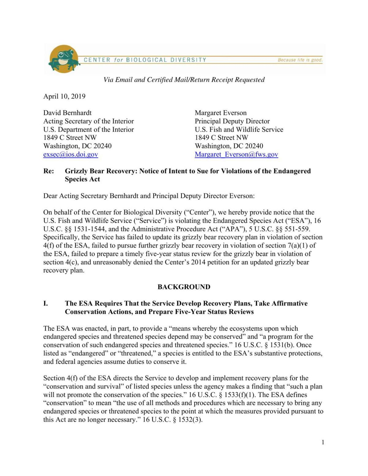 Grizzly Bear Recovery: Notice of Intent to Sue for Violations of the Endangered Species Act