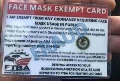 BBB and DOJ warn of fake mask exemption cards