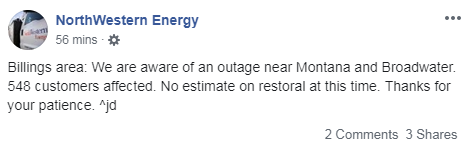 Power outage along Montana & Broadwater
