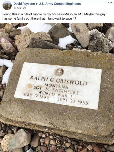 Gravestone found in Missoula rubble, posted online by veteran