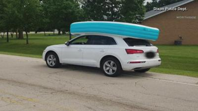 Dixon PD mom arrested after letting kids ride in empty pool on top of car