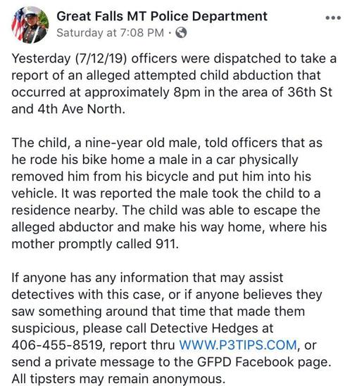 GFPD social media posts on attempted kidnapping in Great