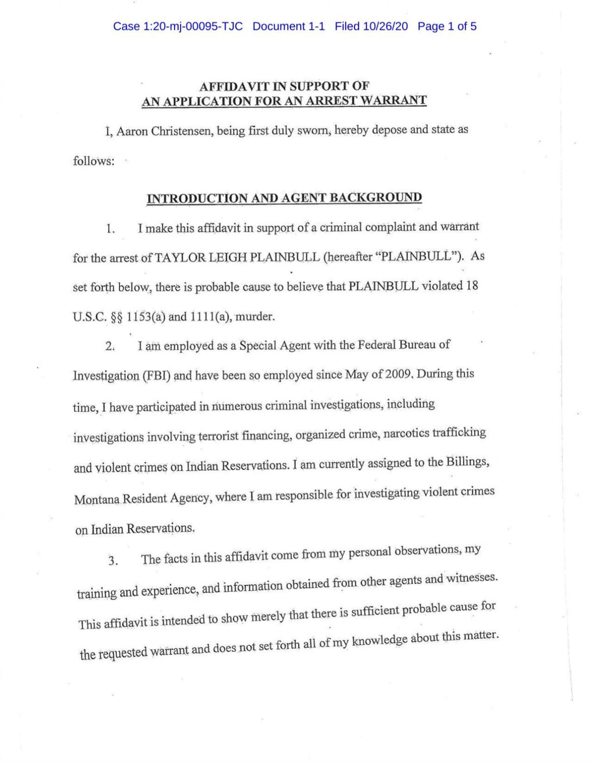 Affidavit against Taylor Leigh Plainbull
