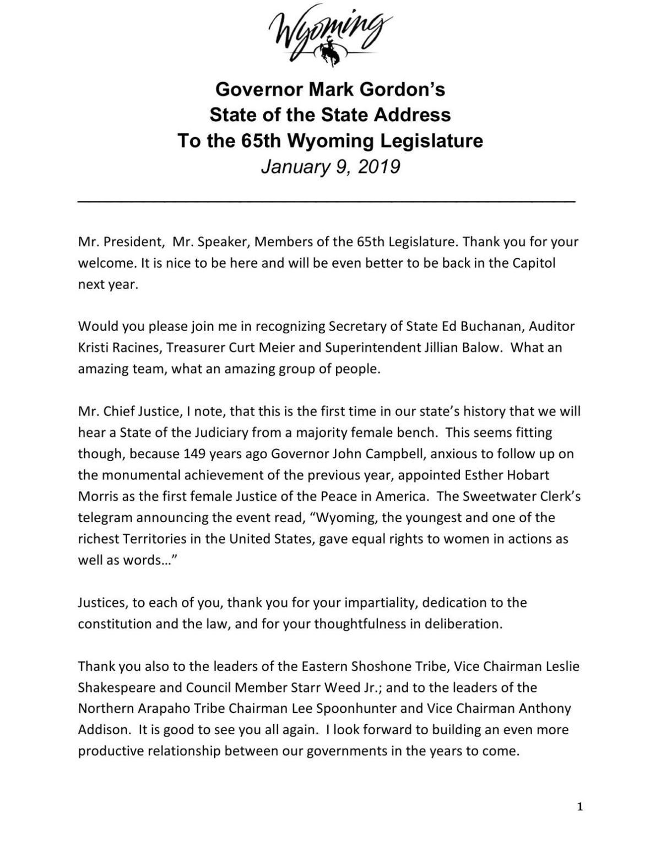 Gov. Gordon's State of the State Address Transcript