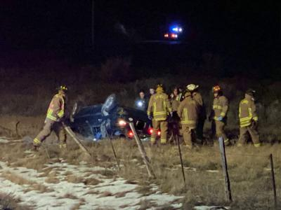 One transported in rollover crash, passerby seen receiving field sobriety test