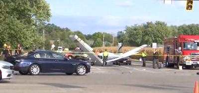 Small plane crashes onto an Ohio roadway