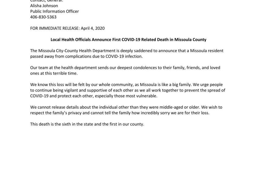 Missoula Resident Dies Due To Covid 19 Related Complications Missoula Kulr8 Com