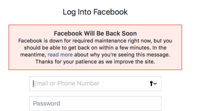 Facebook suffers outage
