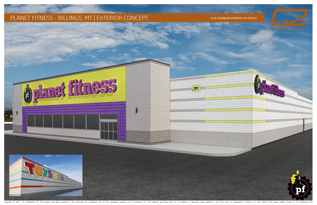 Planet Fitness Rendering Exterior Side