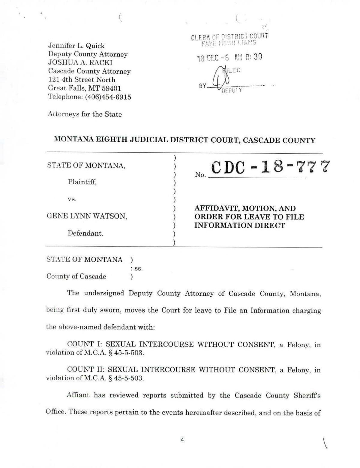 Gene Watson court documents