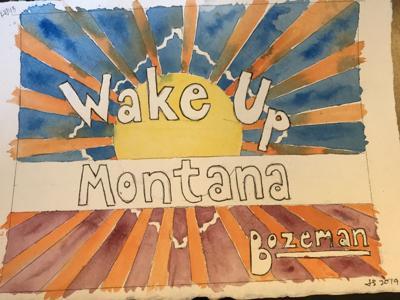 Artist Juliene Sinclair shows off her interpretation of Wake Up Montana at Sweet Pea Festival
