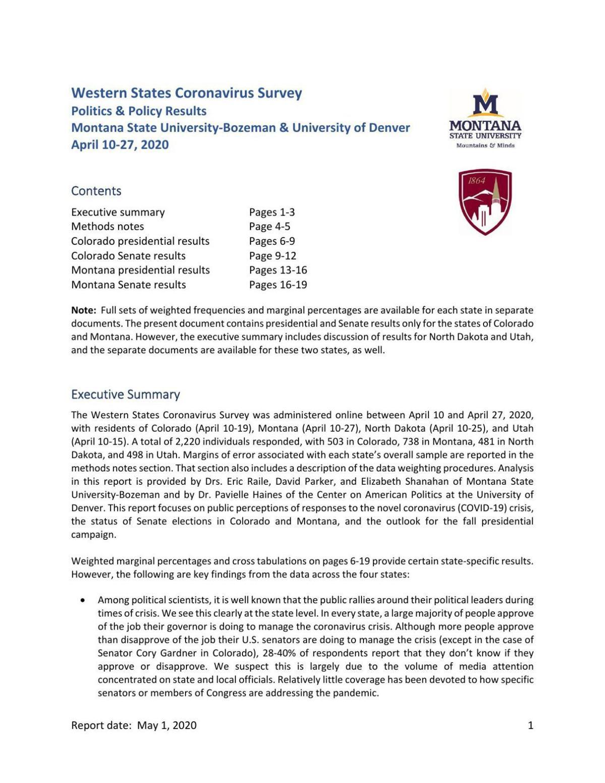 Western States Coronavirus Survey
