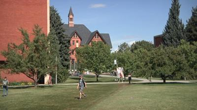 Montana State University quad and Montana Hall