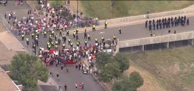 Dueling protests are underway at an ICE detention center in Aurora, Colorado