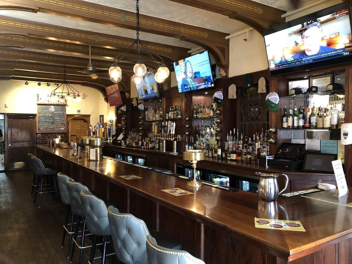 Indoor bar at Bacchus Pub.