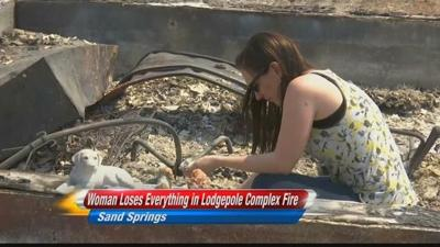 Woman sees land destroyed by Lodgepole Complex Fire for first time