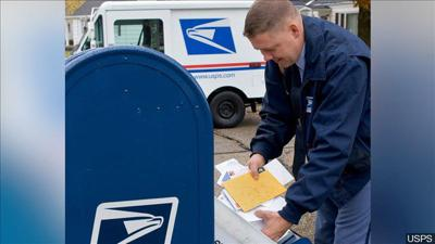 Post Office Worker Collects Mail