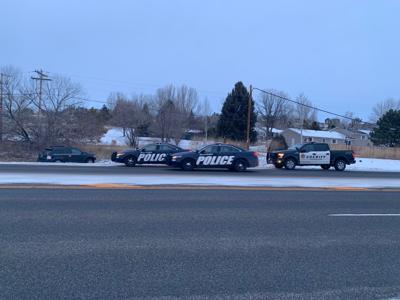 Police staged near crashed vehicle
