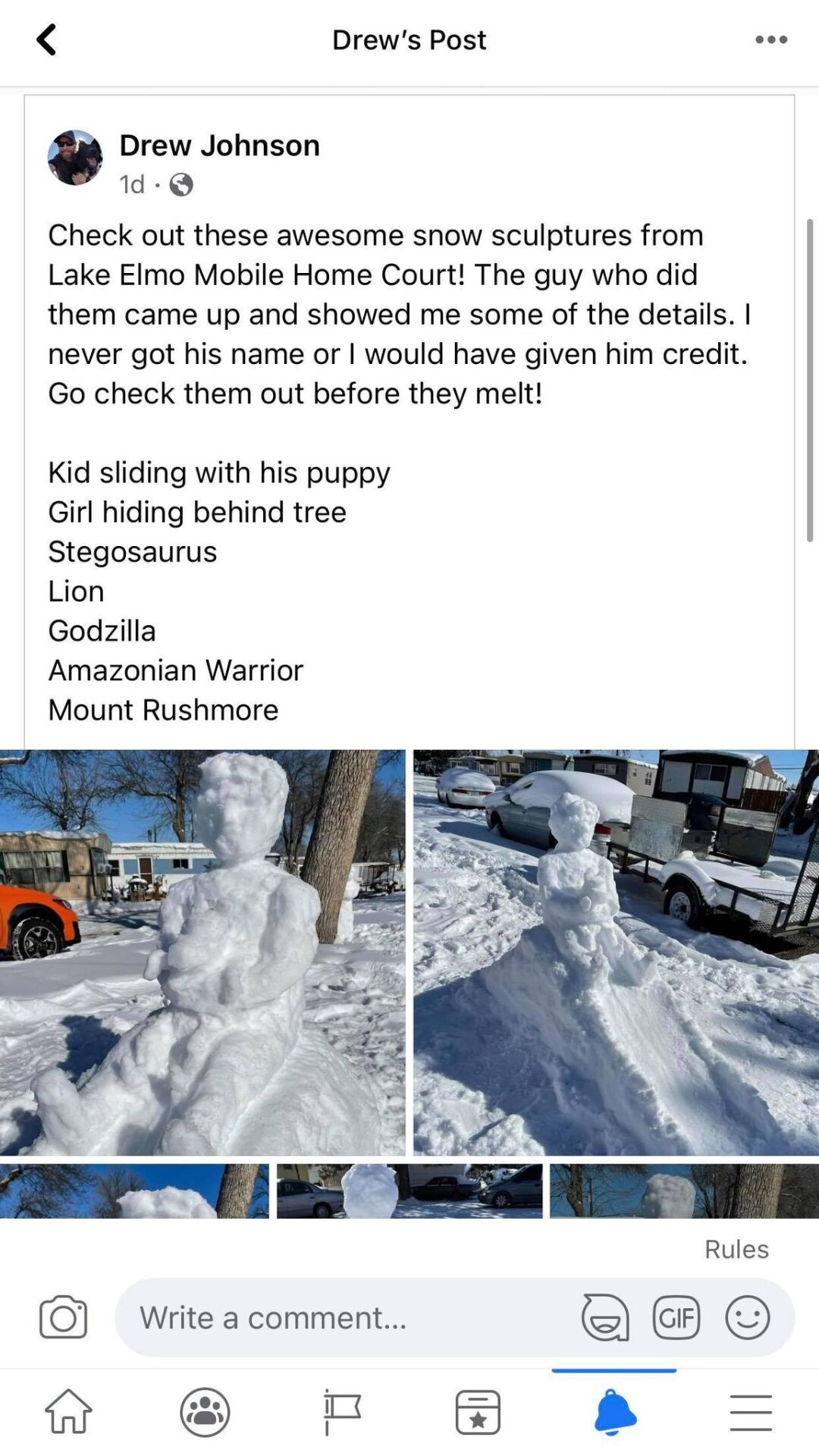 Snow sculptures pop up near Lake Elmo Mobile Home Court