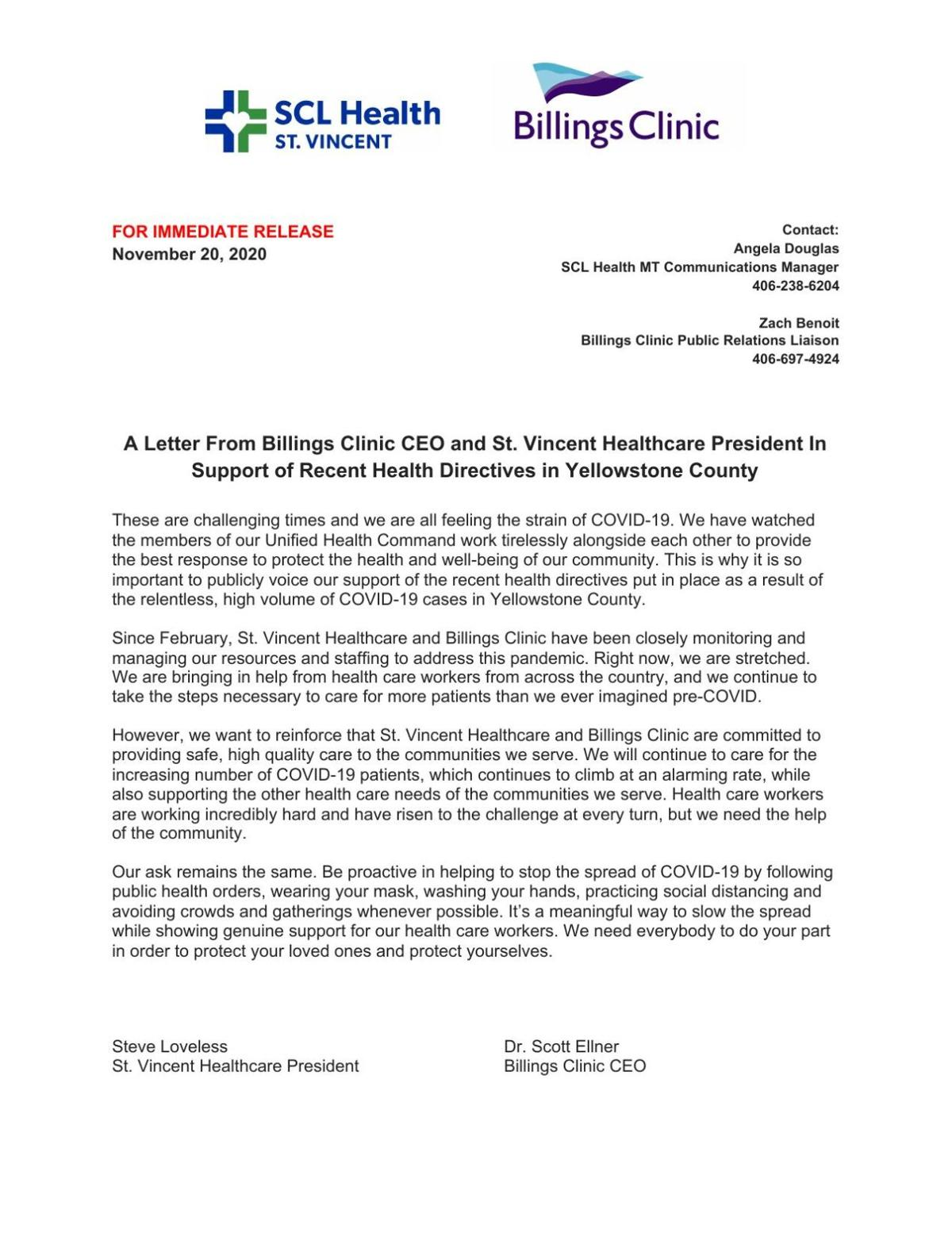 Billings Clinic and St  Vincent Healthcare Letter of Support for Health Directives