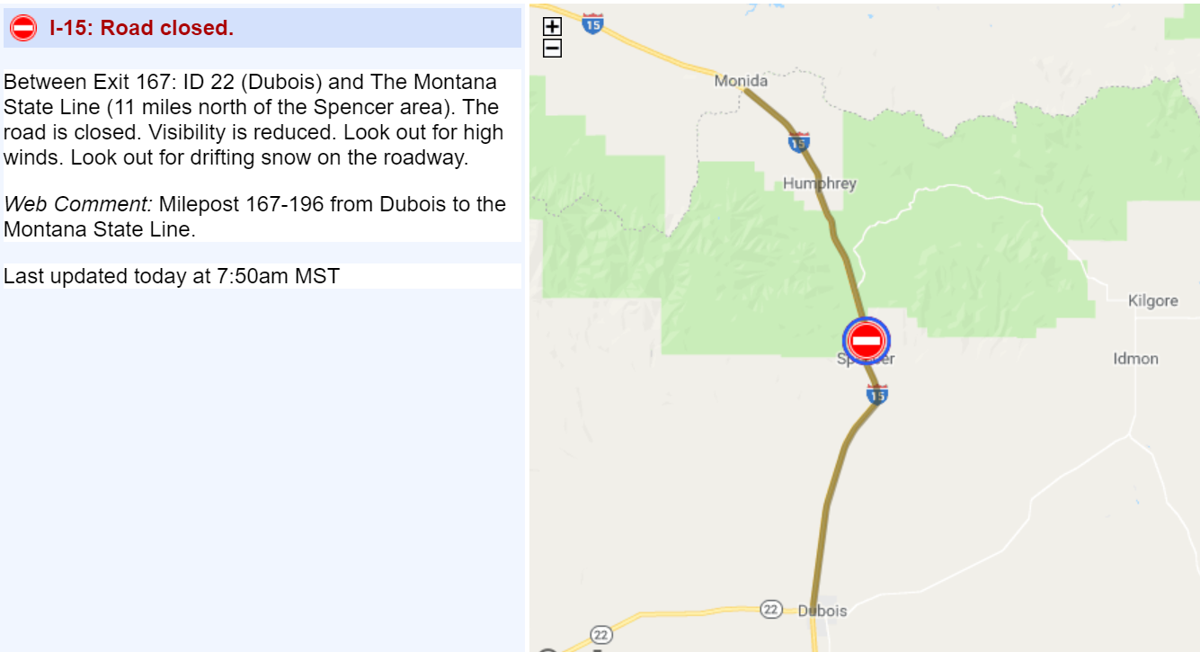 I-15 closed from Monida to Dubois ID