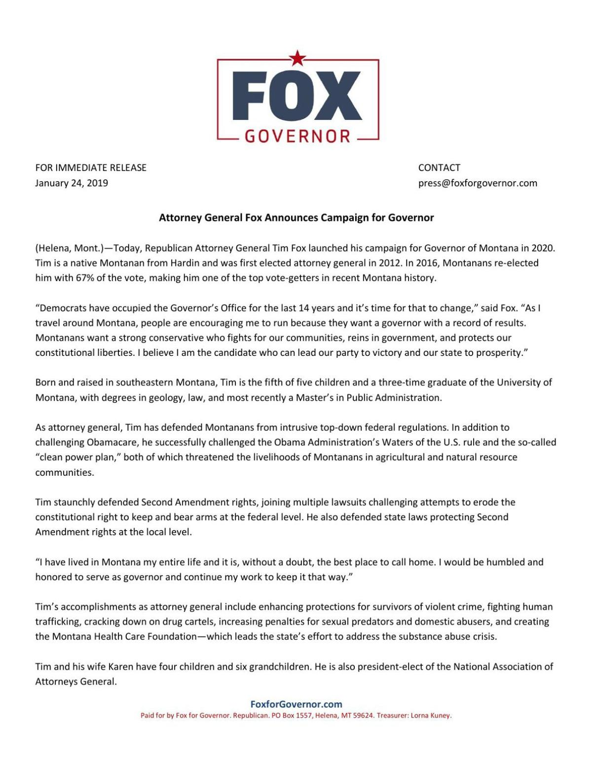 Tim Fox Announcement 2020 Run for Governor | | kulr8 com