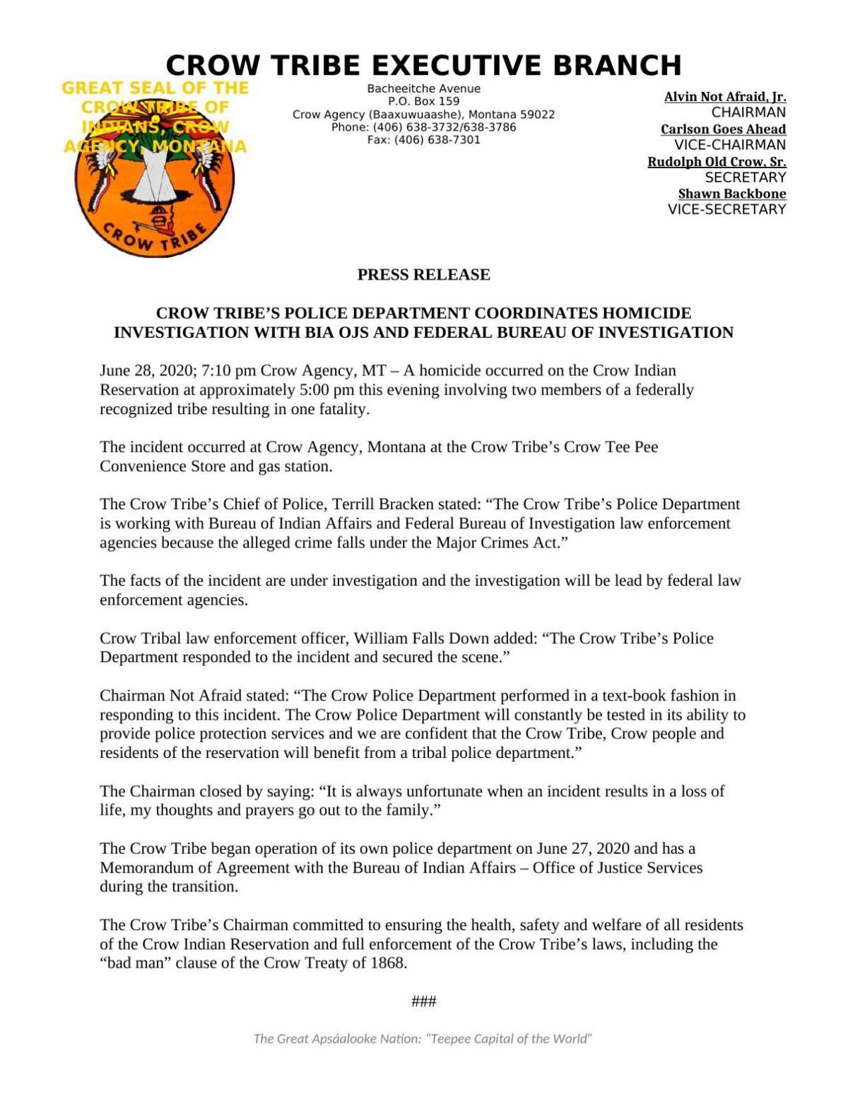 Homicide investigation underway on Crow Reservation