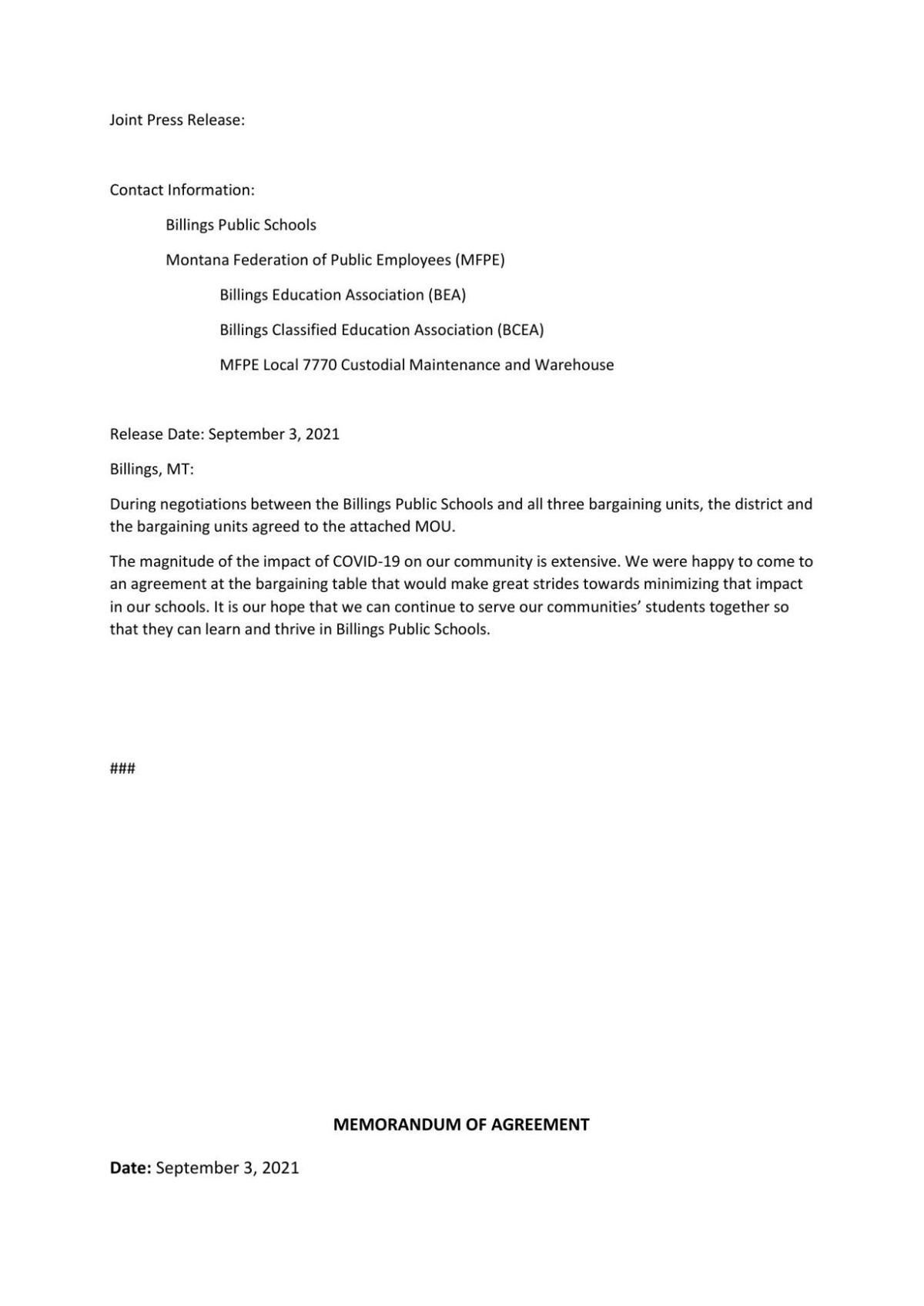 Joint Press Release MOU September 3