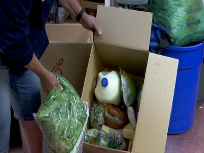Food boxes being given out in Laurel