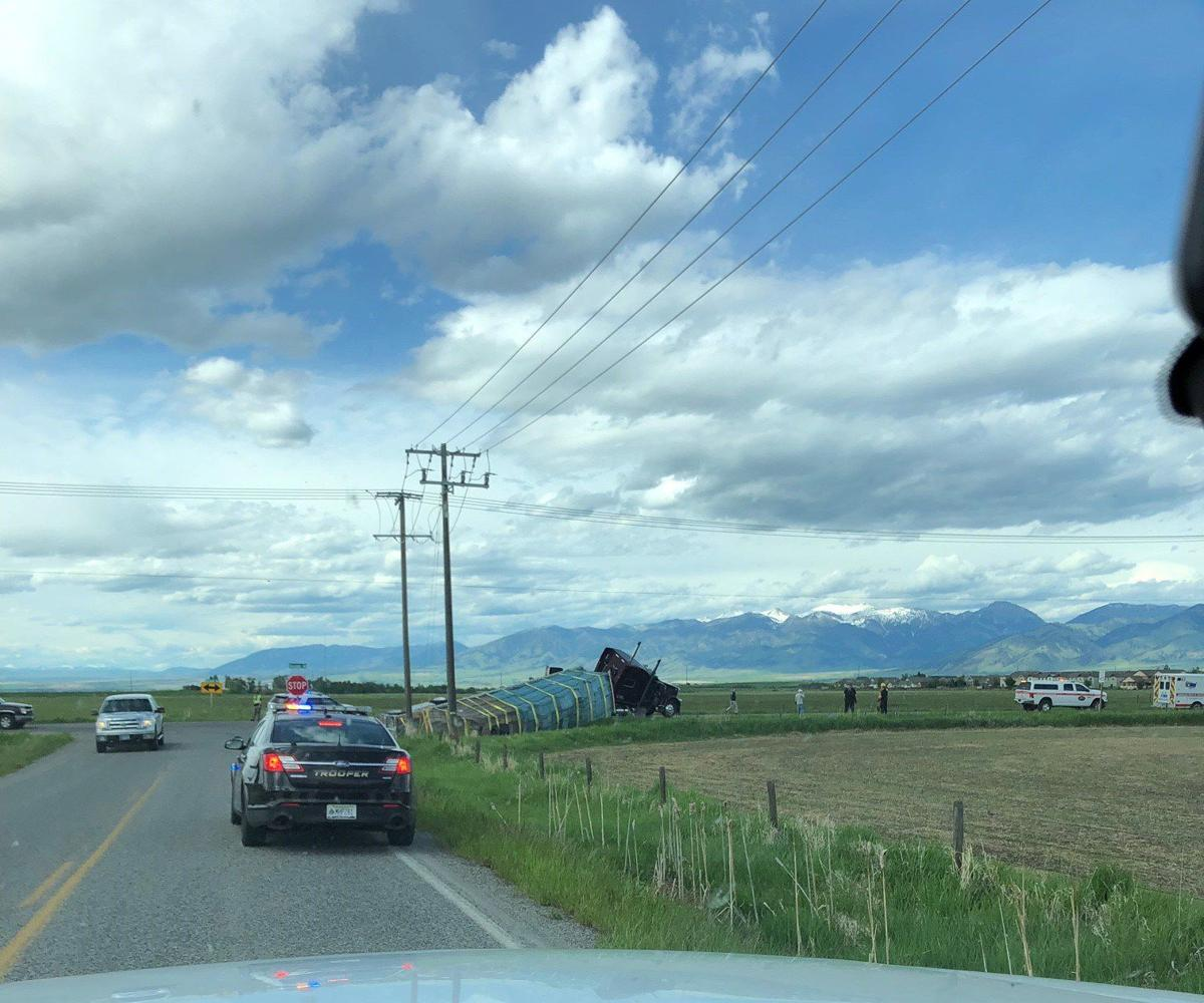 semi carrying bees tips over bozeman