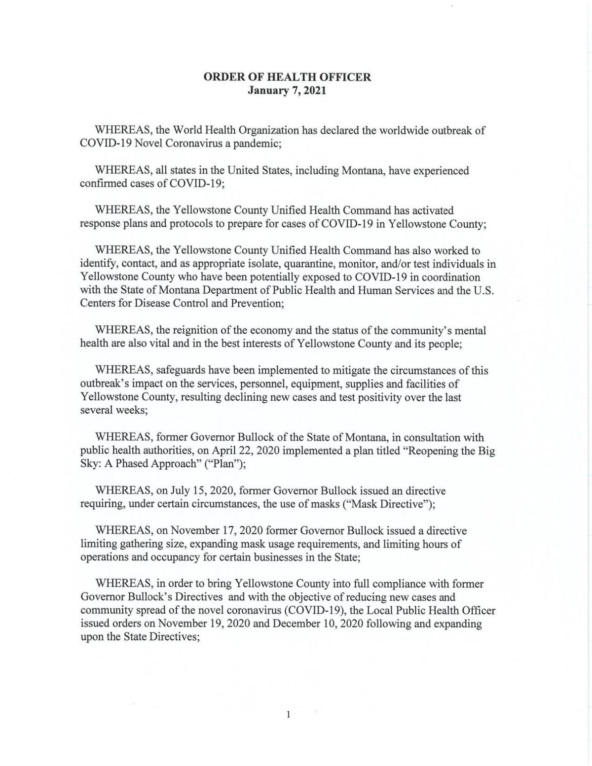 Yellowstone Co. rescinding existing local health orders